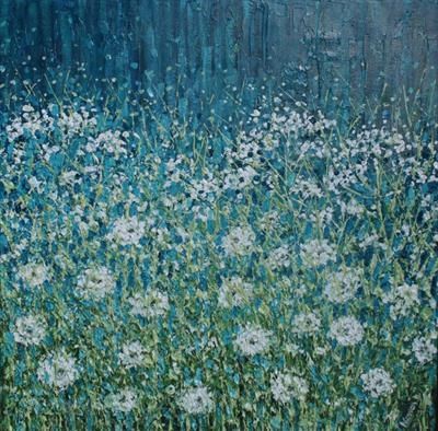 Cowslips and Fairy Clocks by Alison Cowan, Painting, Acrylic on canvas