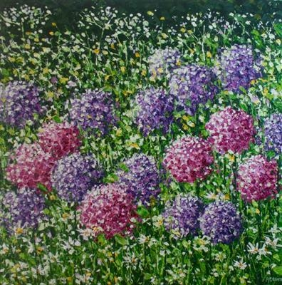 Daisies and Pom Poms by Alison Cowan, Painting, Acrylic on canvas