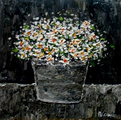 Daisies in Tin Pot by Alison Cowan, Painting, Acrylic on canvas