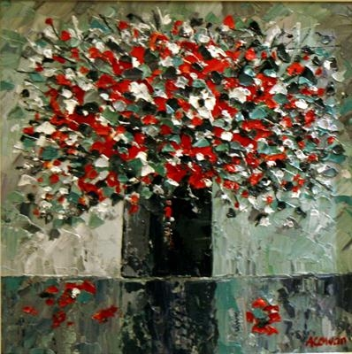 Falling Petals by Alison Cowan, Painting, Acrylic on canvas