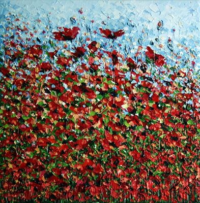 Field of Flowers by Alison Cowan, Painting, Acrylic on canvas