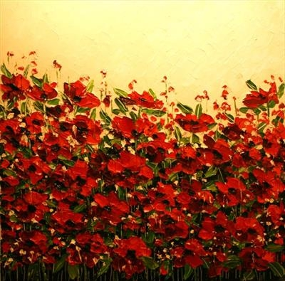 Field of Poppies by Alison Cowan, Painting, Acrylic on canvas