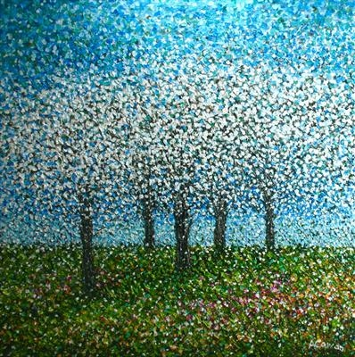 Five Blossom Trees by Alison Cowan, Painting, Acrylic on canvas