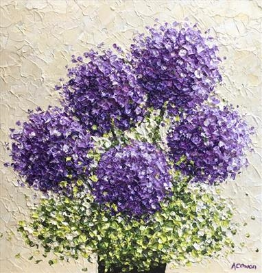 Five Purple Pom Poms by Alison Cowan, Painting, Acrylic on canvas
