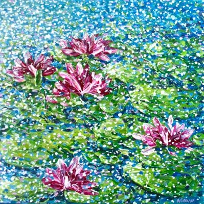 Five Water Lilies by Alison Cowan, Painting, Acrylic on canvas