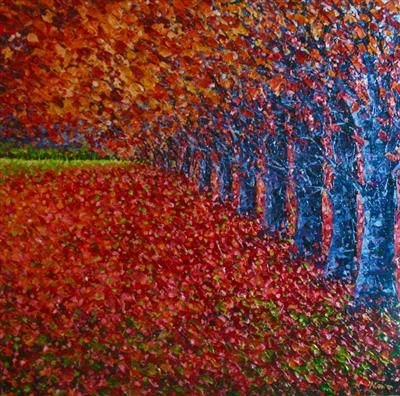 Flame Forest by Alison Cowan, Painting, Acrylic on canvas
