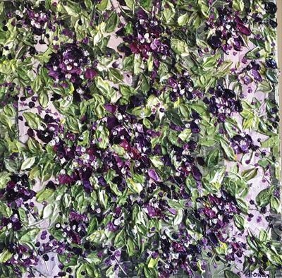 Foliage with Purple Blooms by Alison Cowan, Painting, Acrylic on canvas