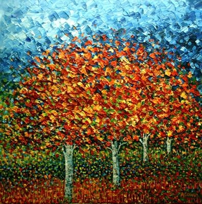 Four Fiery Trees by Alison Cowan, Painting, Acrylic on canvas