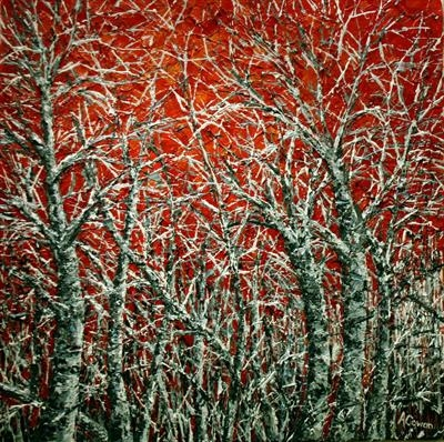 Frosty Trees by Alison Cowan, Painting, Acrylic on canvas