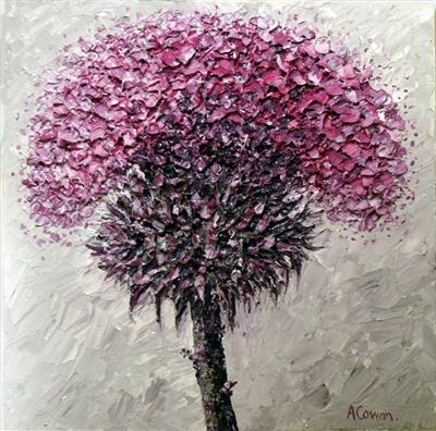 Fuzzy Thistle by Alison Cowan, Painting, Acrylic on canvas