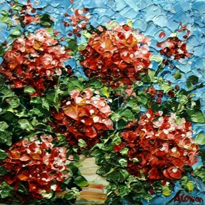 Geraniums by Alison Cowan, Painting, Acrylic on canvas
