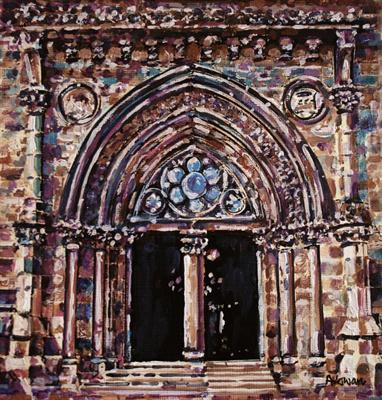 Glasgow University - Detail by Alison Cowan, Painting, Acrylic on paper