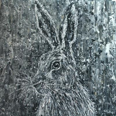 Hare by Alison Cowan, Painting, Acrylic on canvas