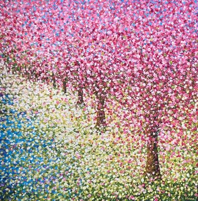 Hazy Blossom Path by Alison Cowan, Painting, Acrylic on canvas