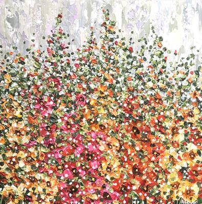 Hollyhocks by Alison Cowan, Painting, Acrylic on canvas