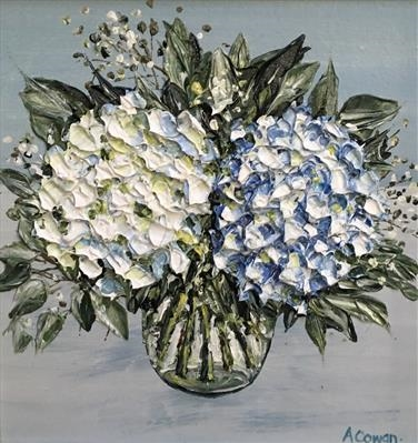 Hydrangea Duo by Alison Cowan, Painting, Acrylic on canvas