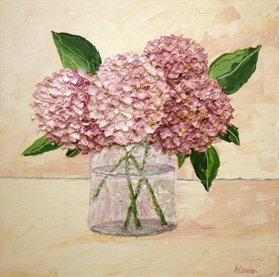 Hydrangea Huddle by Alison Cowan, Painting, Acrylic on canvas