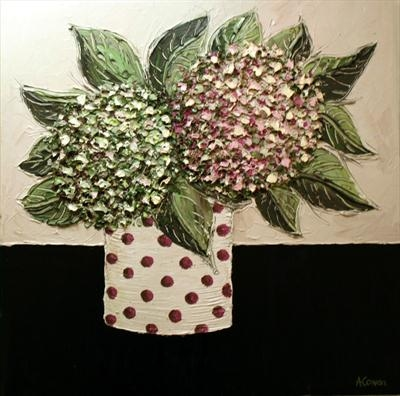 Hydrangea Pom-Poms by Alison Cowan, Painting, Acrylic on canvas