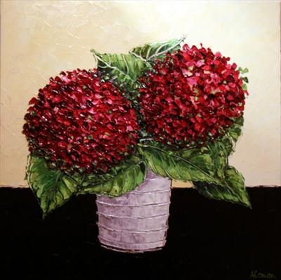 Hydrangea Pom Poms by Alison Cowan, Painting, Acrylic on canvas