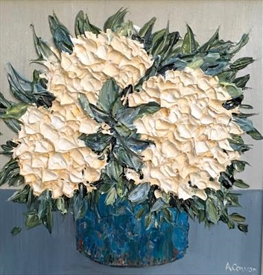 Hydrangea Trio by Alison Cowan, Painting, Acrylic on canvas