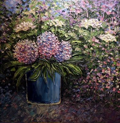 Hydrangeas in Blue Pot by Alison Cowan, Painting, Acrylic on canvas