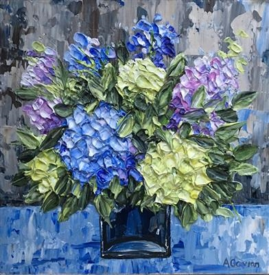 Hydrangeas in Blue Vase by Alison Cowan, Painting, Acrylic on canvas