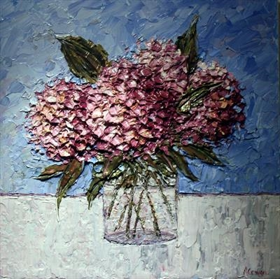 Hydrangeas on Blue by Alison Cowan, Painting, Acrylic on canvas