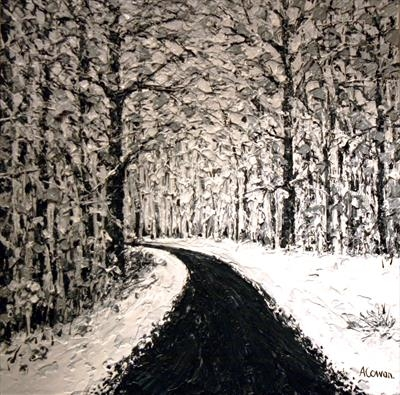 Icy Road by Alison Cowan, Painting, Acrylic on canvas
