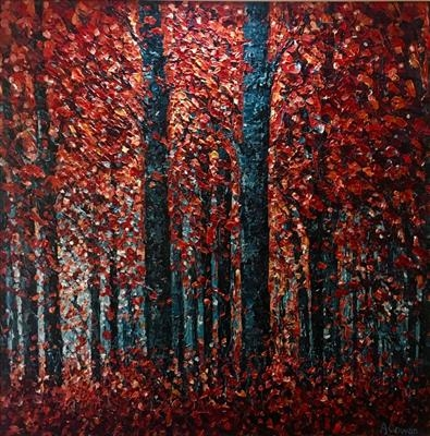 Illuminated Forest by Alison Cowan, Painting, Acrylic on canvas