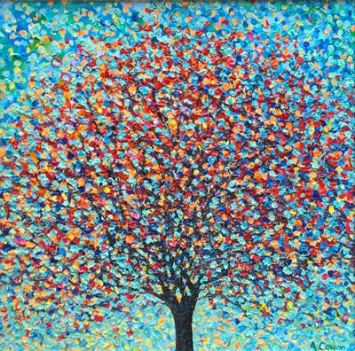 Jelly Bean Tree by Alison Cowan, Painting, Acrylic on canvas