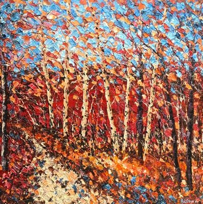 Jostling Trees by Alison Cowan, Painting, Acrylic on canvas