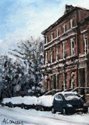 Kirklee in the Snow by Alison Cowan, Painting, Acrylic on canvas