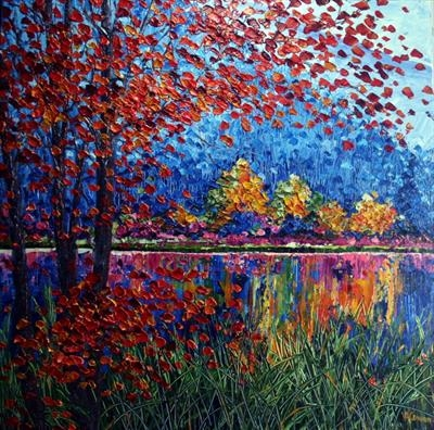 Lake Reflections by Alison Cowan, Painting, Acrylic on canvas