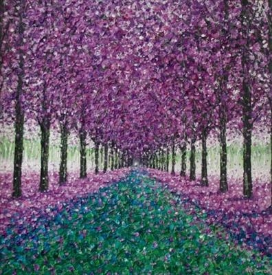 Lavender Avenue by Alison Cowan, Painting, Acrylic on canvas