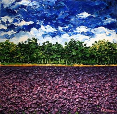 Lavender Fields by Alison Cowan, Painting, Acrylic on canvas