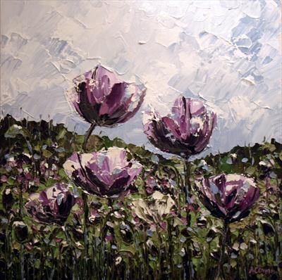Lavender Poppies by Alison Cowan, Painting, Acrylic on canvas