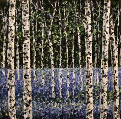 Lavender and Silver Birch by Alison Cowan, Painting, Acrylic on canvas