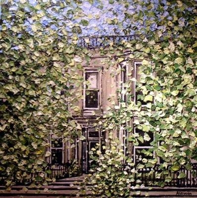 Leafy Queens Gardens by Alison Cowan, Painting, Acrylic on canvas