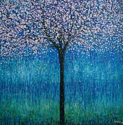 Lilac Blossom Tree by Alison Cowan, Painting, Acrylic on canvas