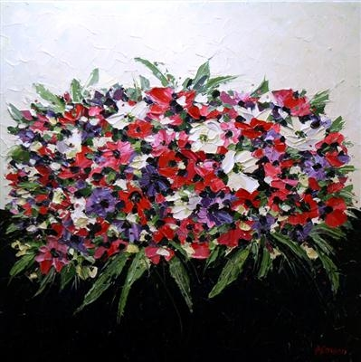 Mona Lisa Anemones by Alison Cowan, Painting, Acrylic on canvas