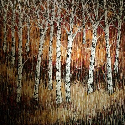 Moonlight Birch Trees by Alison Cowan, Painting, Acrylic on canvas