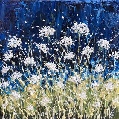 Moonlight Cowslips by Alison Cowan, Painting, Acrylic on canvas