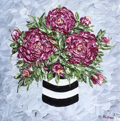 More Pink Peonies by Alison Cowan, Painting, Acrylic on canvas