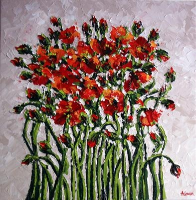 Orange Poppies with TwistedStems by Alison Cowan, Painting, Acrylic on canvas