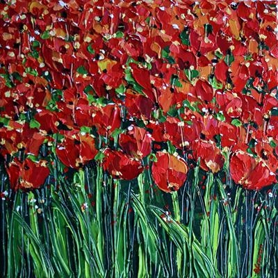 Orange Tulips on Parade by Alison Cowan, Painting, Acrylic on canvas
