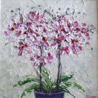 Orchids 2. by Alison Cowan, Painting, Acrylic on canvas