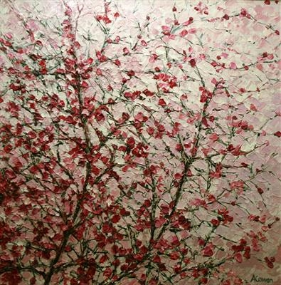 Pink Blossom Haze by Alison Cowan, Painting, Acrylic on canvas