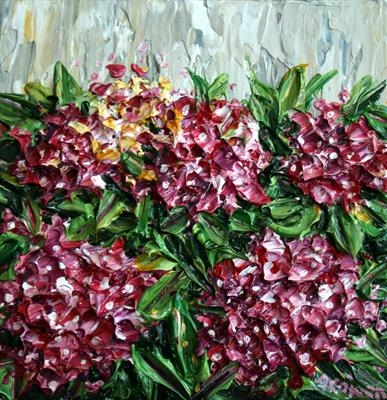 Pink Hydrangeas by Alison Cowan, Painting, Acrylic on canvas
