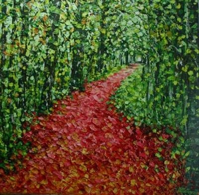 Pink Path by Alison Cowan, Painting, Acrylic on canvas