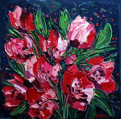 Pink Posy by Alison Cowan, Painting, Acrylic on canvas